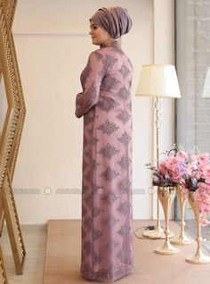 Lilac - Fully Lined - Crew neck - Muslim Plus Size Evening Dress Nigerian Lace Dress, Gown Party Wear, Hijab Evening Dress, Moslem Fashion, Moda Emo, Abaya Designs, Evening Dresses Plus Size, Islamic Clothing, Abaya Fashion
