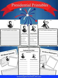 Free Presidential Printables – Plus 15 other great President's Day Resources - Homeschooling Curriculum