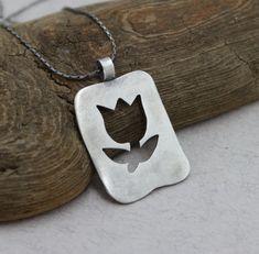 Sterling Silver Flower Necklace Silver Tulip by SilverJewelryElena