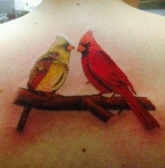 Cardinal Memorial Tattoos | My first tattoo. Cardinals for my grandparents. :)