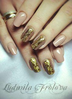#nail #nails #nailart Exclusive gold nailart, ornament nails, maya nails, орнамент на ногтях, золотые ногти, узор на ногтях