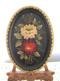 Gorgeous little hand-painted antique tole dresser tray