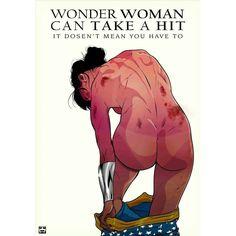 "Artwork by Yehuda Devir official ( ""Stop violence against women! Illustrations, Illustration Art, Wonder Woman, Geek Out, Gal Gadot, Comic Artist, Strong Women, Stay Strong, Amazing Art"