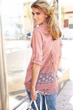 Aniston Langarmshirt »mit Spitzeneinsatz« für Damen   BAUR