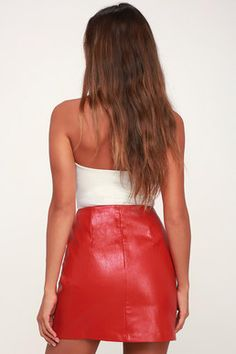 The MINKPINK Baddie Red Vegan Leather Mini Skirt will have you feelin' bad and boujee! Bold red vegan leather mini skirt with crisscrossing seamed detail. Vinyl Mini Skirt, Red Mini Skirt, Pvc Skirt, Dress Skirt, Buy Skirts Online, Dressy Attire, Leather Mini Skirts, Casual Skirts, Leather Fashion
