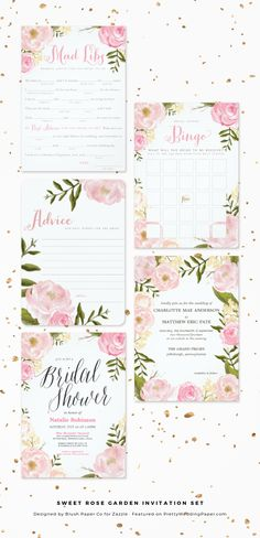 Sweet Rose Garden Soft Pink Bridal Shower Invitation Collection designed by Blush Paper Co.
