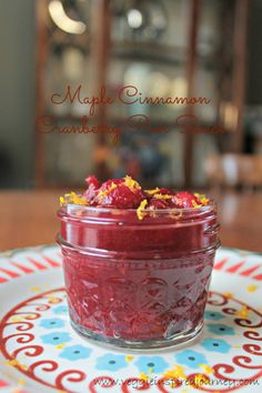 Maple Cinnamon Cranberry Pear Sauce | A fruity warm treat, spread some of this unique sauce on your toast, heat it up to pour over ice cream or pancakes. @sebestyen2