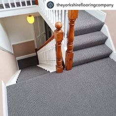 How amazing does this staircase look?! @theyorkshireflooringcompany have been busy creating this stunning custom runner along with full width stair & landing carpet for this Victorian hallway 🙌 The black and white stripes look superb against the white and pale pink decor Carpet: Deco Collection, Bermondsey Stripe To see the full range visit our website: www.hughmackay.co.uk #carpet #flooring #stairs #staircarpet #staircase #stairrunner #carpetrunner #victorian #victorianhallway #victorian Stairs Landing Carpet, Stair Landing, Carpet Stairs, Carpet Flooring, Victorian Hallway, Painted Stairs, Carpet Runner, Pale Pink, Stripes