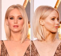 Short hair is so Glam! Jennifer Lawrence looked seriously stunning at the 2016 Academy Awards, with her blonde hair parted in the center and styled sleek and straight. Jennifer Lawrence, looked hot at the Oscars on F… Hair Styles 2016, Medium Hair Styles, Short Hair Styles, Pretty Hairstyles, Bob Hairstyles, Hairstyle Ideas, Corte Y Color, Modern Haircuts, Great Hair