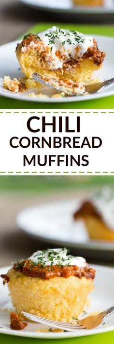 Chili Cornbread Muffins are seriously at the top of my comfort foods list! Do you look for really easy and quick recipes that you can make any night of the week? Then get this recipe, and enjoy!!  It's one of the foods that picky kids will eat! Kids will eat any kinds of muffin, right?! Top with sour cream - and enjoy!