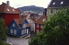 Bergen Norway: typical tiny wooden houses  located at the hillside of Bergen and on the Nordnes peninsula, both short walks from city center