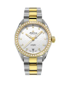 Alpina Comtesse Two-Tone Sport Watch with Diamonds, - White/Gold Luxury Watches, Rolex Watches, Alpina Watches, Watches Online, Sport Watches, Luxury Jewelry, Jewelry Watches, White Gold, Personalized Items