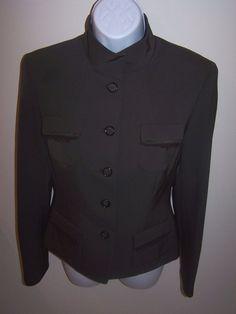 Tahari Women's Jacket/Blazer 2 Brown Dressy Button Front Long Sleeve #Tahari #Blazer