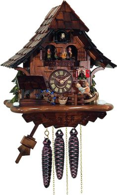 River City Clocks MD464-14 One Day Musical Cuckoo Clock Cottage with Boy on Rocking Horse, Moving Waterwheel, and Dancers