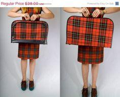 Vintage 60's Red & Black Tartan Plaid Suitcase Luggage by JoulesJewels