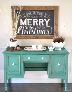 Hot chocolate bar with chalkboard sign and vintage dresser as the table.