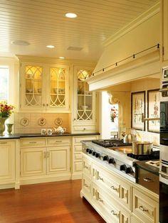 Beadboard Ceiling Design, creamy cabinets