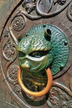 Beautiful door knocker on a church in Augsburg, Germany.