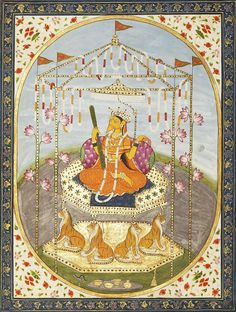 Bagalamukhi circa 1820. India, Punjab Hills (via sothebys.com) The Goddess Bagalamukhi (lit. crane-faced one) is one of the ten Mahavidyas or Wisdom Goddesses in the Tantric Hindu pantheon. Together the spectrum of these ten Goddesses covers the whole range of feminine divinity, from the horrific to the beauteous and their worship enables the practitioner to break away from conventional, established ideas into an awareness of essential spiritual truths.