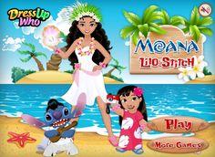Wielkie trio z hawajskich wysp! Moana to nowa bohaterka nadchodzącej bajki Disneya. Spotkała na plaży dobrze znane postacie. http://www.ubieranki.eu/ubieranki/9918/moana_-lilo-i-stich.html