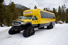 #JustFunnyWheels. #Cars. Yellowstone National Park Snowcoach — a modified Ford Super-Duty.