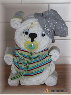 Windelbär mit Name, Diaper Cake, Baby Shower, Babyshower, Windeltorte, Windelfigur, Windeltier, Geburtsgeschenk, Diaper Bear