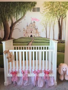 enchanted forest castle mural for princess sloan