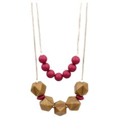 Bumkins Nixi Paloma Silicone Teether Necklace - Bordeaux (Red)