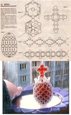 Beaded egg weaving with Large cross on top PATTERN