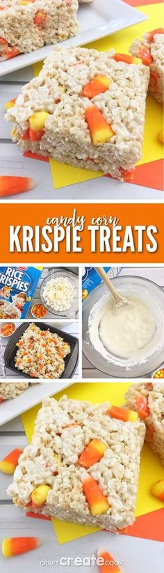 These Candy Corn Rice Krispies are a perfect way to turn already yummy Rice Krispie Treats into an amazing fall treat. via @CraftCreatCook1