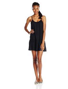 Roxy Junior's Like Its Hot Black Drop Waist Dress, Black/Solid, X-Small Roxy