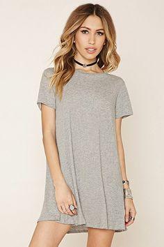 Heathered Knit T-Shirt Dress