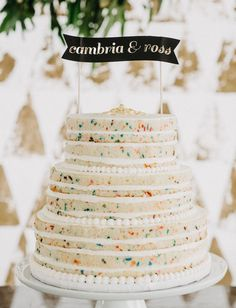 This super-cute Funfetti cake. | 25 Incredibly Beautiful Wedding Cakes That Won 2015