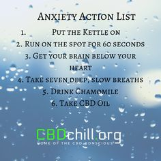 CBD Oil and Anxiety - Here's to a Fearless Life Action List, How To Treat Anxiety, Release Stress, Muscle Tension, In Case Of Emergency, Your Brain, Anxious, Consciousness, The Cure