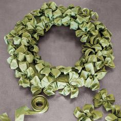 "I saw this in ""My Collection of Handmade Wreaths"" in Martha Stewart Living December Ribbon Wreath Tutorial, Diy Wreath, Wreath Ideas, Tulle Wreath, Burlap Wreaths, Holiday Wreaths, Christmas Decorations, Winter Wreaths, Spring Wreaths"