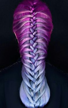 Purple blue braided dyed hair color