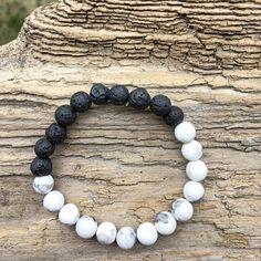 Lava Rock Howlite Gemstone Bead Bracelet Minimamist Jewelry