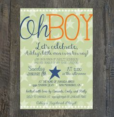 Modern Baby Boy Shower Invitation OH BOY by SilhouetteDesign, $2.00
