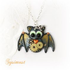 bat polmyer clay | Steampunk bat. Bat pendant. Clay bat. Clay animal. Polymer clay ...