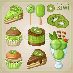Set of sweets with kiwi vector Cute Food Drawings, Kawaii Drawings, Kiwi Vector, Ice Cream Poster, Dessert Illustration, Cupcake Pictures, Food Clipart, Barbie Paper Dolls, Cute Food Art