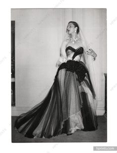 Christian Dior 1951 Original Fashion Photo Press Agip, Robert Cohen, Strapless dress