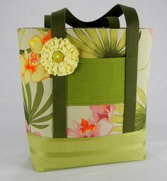 Hawaiian Tote Bag, Large Tote, Handmade, Placemats, Colorful, Flower print, Contemporary, One of a kind, Unique by TotellyUnique on Etsy