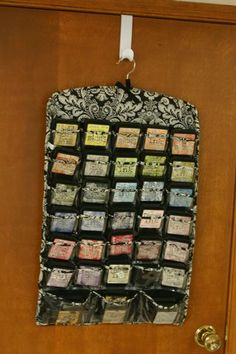 Papercrafting Organization: Paints, Sprays, Inks & Ink Pads - Papercrafting Organization: Ink Pads in a Hanging Jewelry Organizer Behind a Door Ink Pad Storage, Art Storage, Craft Room Storage, Craft Rooms, Storage Ideas, Stamp Storage, Cheap Storage, Scrapbook Storage, Scrapbook Organization