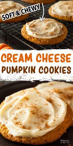 Soft Pumpkin Cookies, Pumpkin Pie Mix, Moist Pumpkin Bread, Pumpkin Chocolate Chip Cookies, Pumpkin Dessert, Dessert Food, Healthy Pumpkin, Cream Cheese Cookie Frosting, Cookies With Cream Cheese