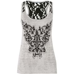 maurices Graphic Tank With Rhinestones And Lace (24 AUD) ❤ liked on Polyvore featuring tops, shirts, tank tops, tanks, soft white, layering shirts, lace tank, white stripes shirt, white lace shirt and white shirt