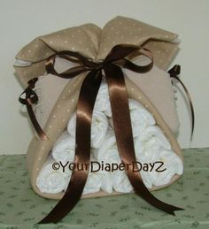Brown & Tan Stork Bundle (Gender Neutral Baby Shower Gift) Crafty alternative to diaper cake. Check out my other pins for quick tutorial.