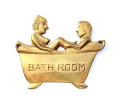 How fun is this vintage brass bathroom sign??!!