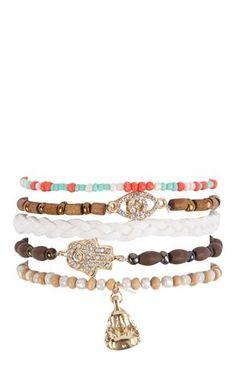 Deb Shops Five Bracelet Set with Hamsa and Wood Beads $6.00