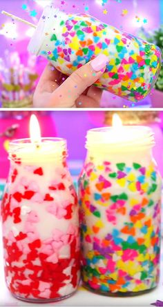 DIY Confetti Candles – Beautiful Homemade Jar Candles – Funfetti Candles Made With Candy Sprinkles – Birthday – Valentines – Gifts Funfetti candles everyone loves! Easy homemade DIY candles that make great room decor or gifts – Friend Valentine Gifts, Diy Gifts For Friends, Birthday Gifts For Girlfriend, Homemade Valentines, Diy Gifts For Boyfriend, Boyfriend Girlfriend, Boyfriend Birthday, Crafts With Friends, Ideal Boyfriend