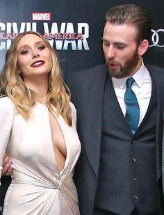 Elizabeth Olsen and Chris Evans